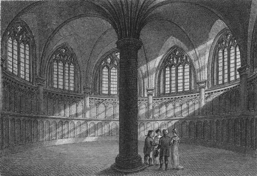 WORCS. Chapter House, Worcester Cathedral 1807 old antique print picture