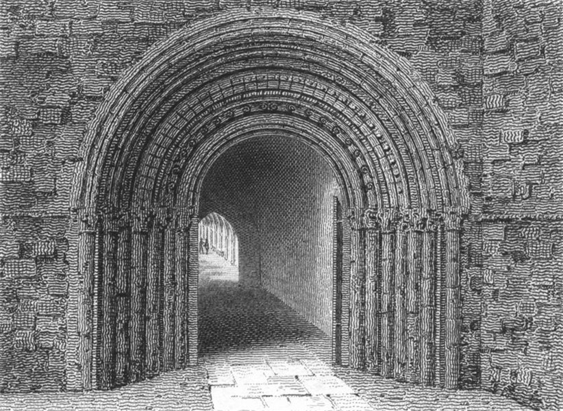 Associate Product WORCESTER. South entry to cloisters of Cathedrals 1807 old antique print