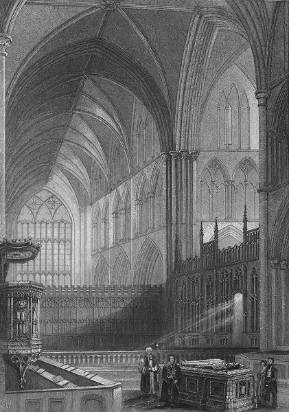 Associate Product WORCS. Worcester Cathedral Choir c1850 old antique vintage print picture