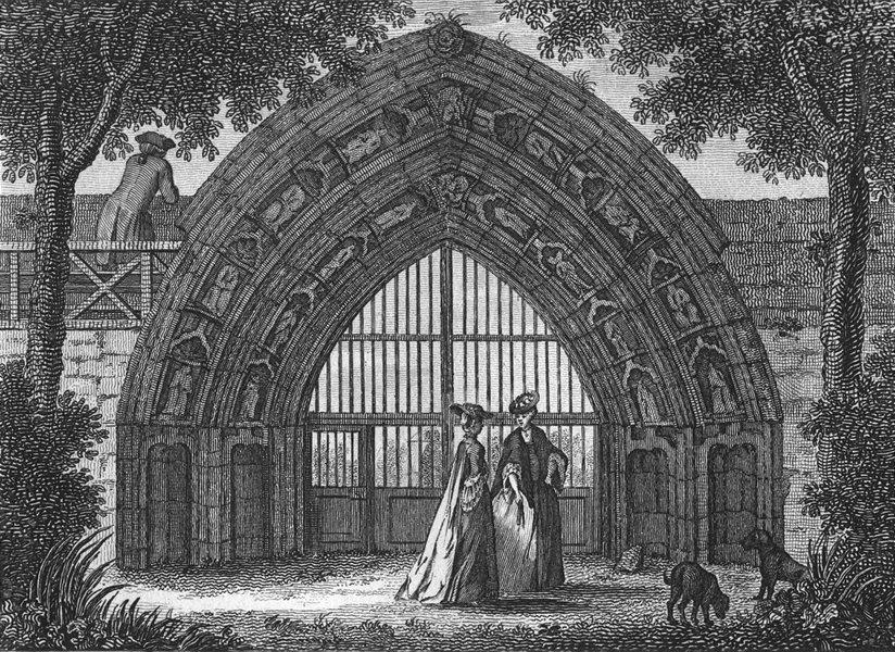 Associate Product WORCS. Evesham Abbey 1775 old antique vintage print picture