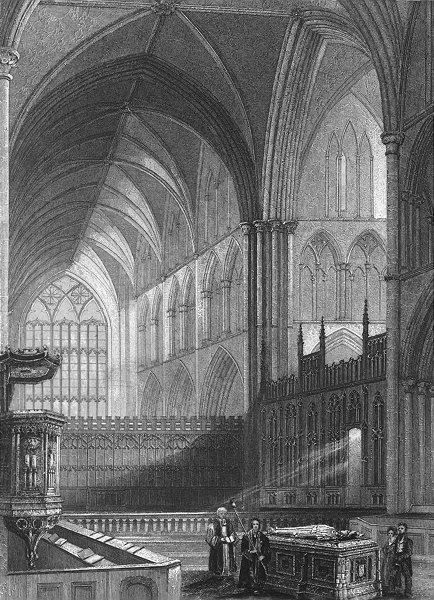 Associate Product WORCS. Worcester, Cathedral, choir c1850 old antique vintage print picture