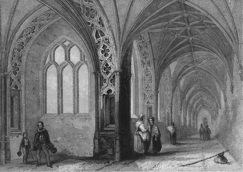 WORCS. Worcester, Cathedral, choisters c1850 old antique vintage print picture