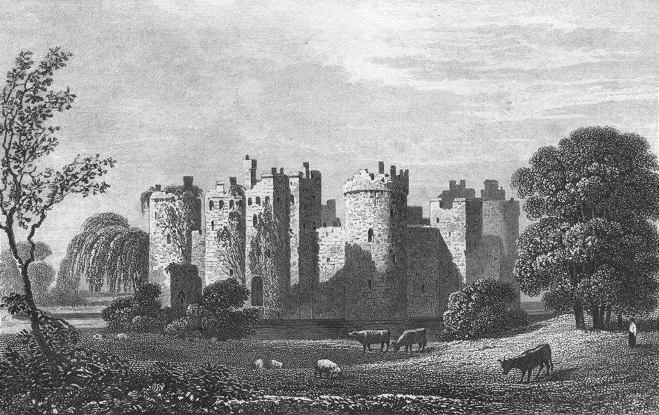 SUSSEX. Bodyham Castle. DUGDALE c1840 old antique vintage print picture
