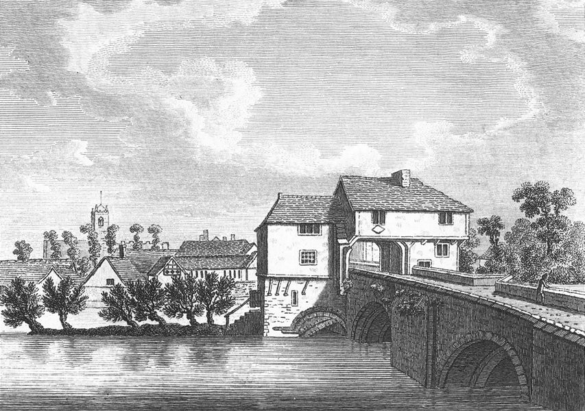 BEDS. Bedford bridge. Church in distance Grose 1783 old antique print picture