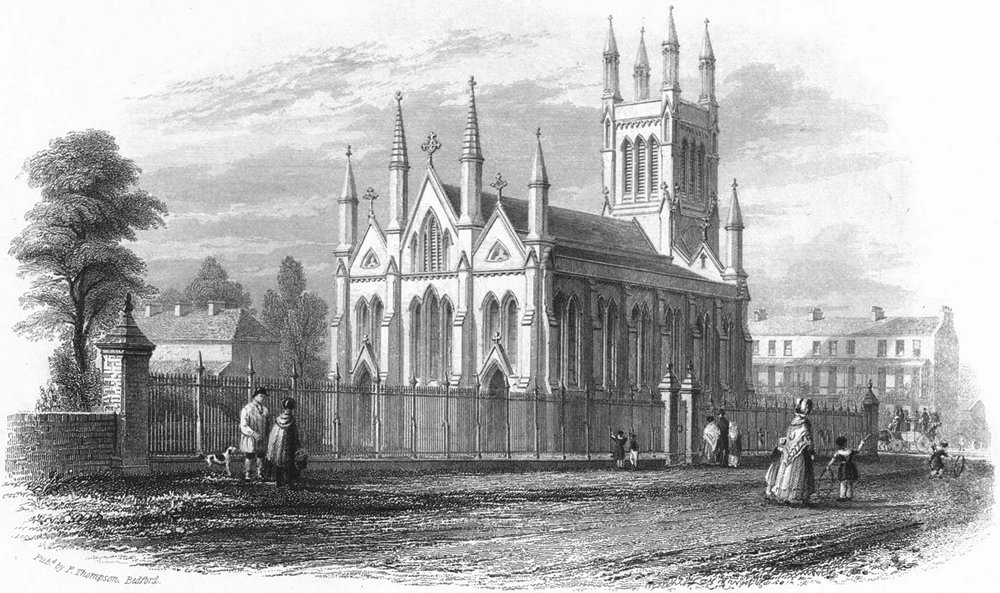 Associate Product BEDS. Trinity Church, Bedford. Thompson 1850 old antique vintage print picture