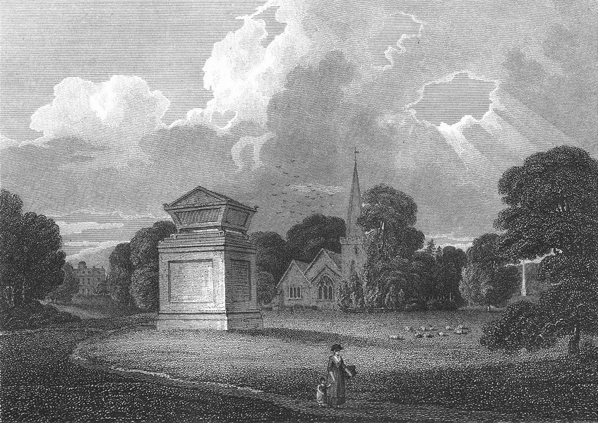 Associate Product BUCKS. Stoke Church. Powell Animals 1808 old antique vintage print picture