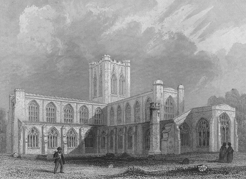 CHESHIRE. Chester Cathedral SE view 1836 old antique vintage print picture
