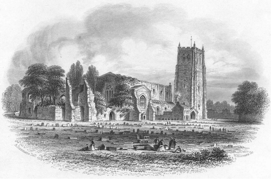 Associate Product CHESHIRE. St John's Church, Chester. Hughes 1856 old antique print picture