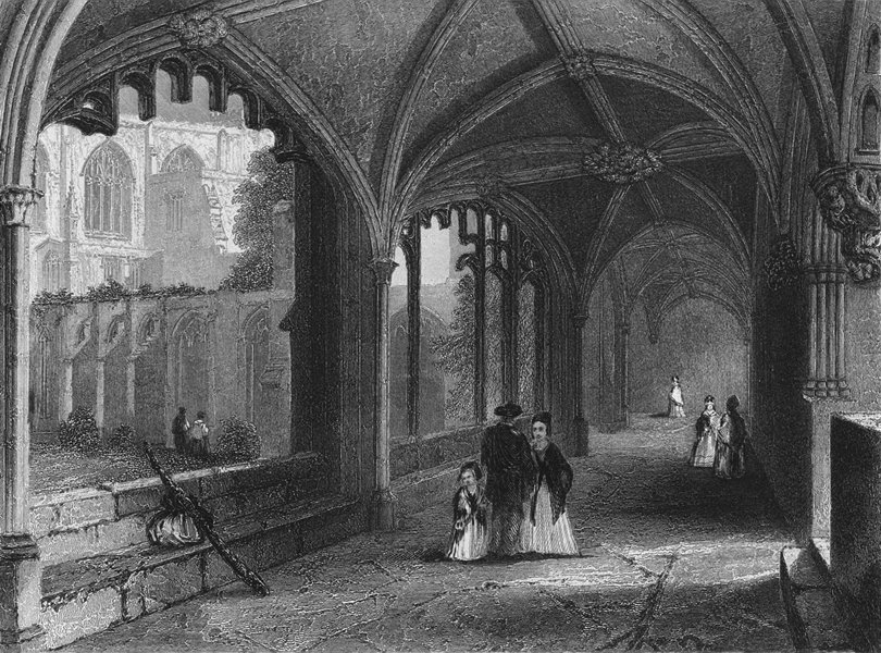 Associate Product CHESHIRE. Chester Cathedral, Cloisters 1850 old antique vintage print picture
