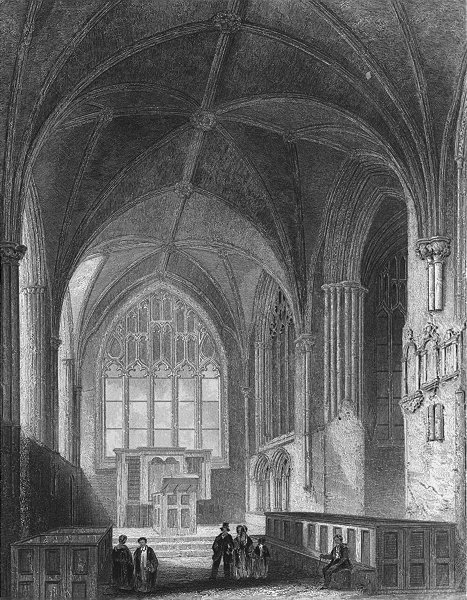 Associate Product CHESHIRE. Chester Cathedral, Lady Chapel 1850 old antique print picture