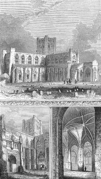 CHESTER. Cathedral south Porch Lady Chapel. Bentley 1860 old antique print