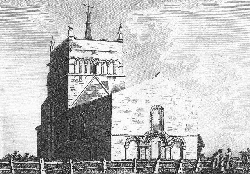 Associate Product BUCKS. Stewkley Church. Grose. 18C 1795 old antique vintage print picture