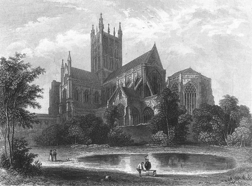 Associate Product SOMT. Wells Cathedral SE view 1836 old antique vintage print picture