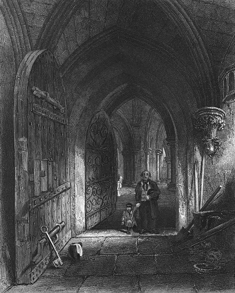 Associate Product SOMT. Wells Cathedral entry to Crypt 1836 old antique vintage print picture