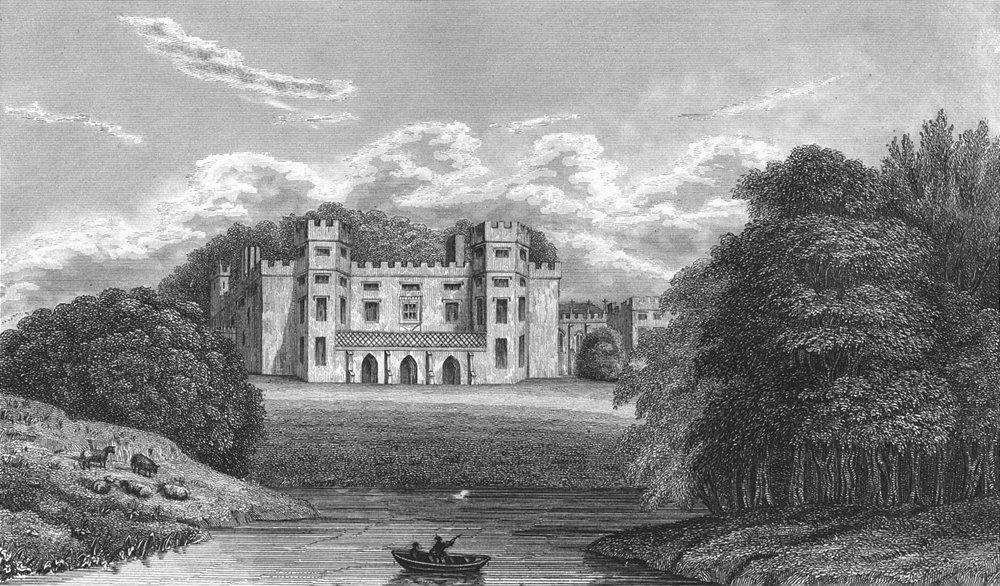 Associate Product SHROPS. Sundorne Castle. West in Boat Sheep 1830 old antique print picture