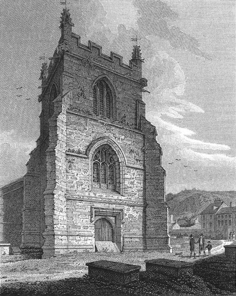 Associate Product BANGOR. Tower, Cathedral. Wales Caernarfonshire.  1817 old antique print
