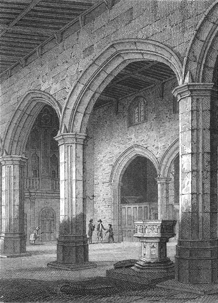Associate Product BANGOR. Nave of Cathedral. Wales Caernarfonshire.  1814 old antique print