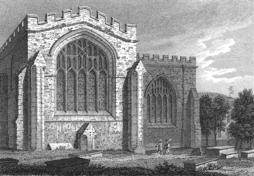 Associate Product BANGOR. Transept, Cathedral. Wales Caernarfonshire.  1814 old antique print