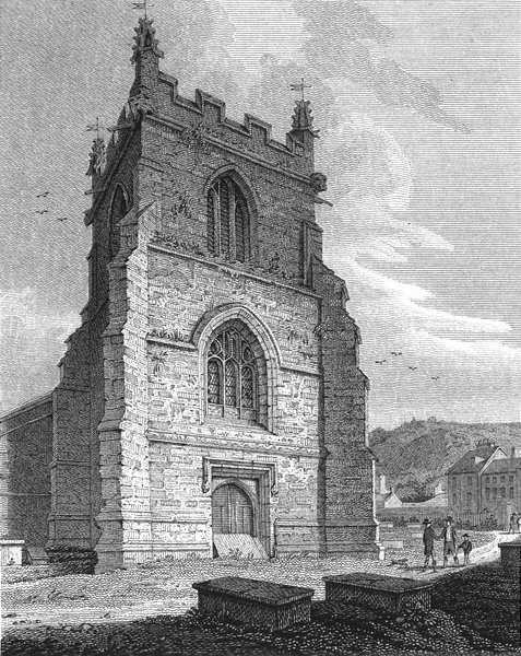 Associate Product BANGOR. Tower, Cathedral. Wales Caernarfonshire.  1814 old antique print