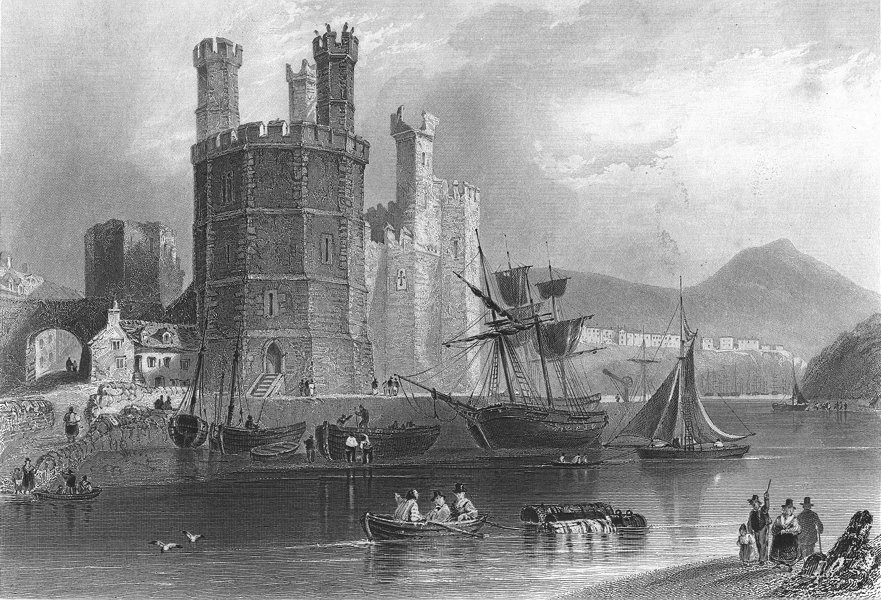 Associate Product CAERNARFON. Eagle Tower, Castle. River Ships boats 1850 old antique print