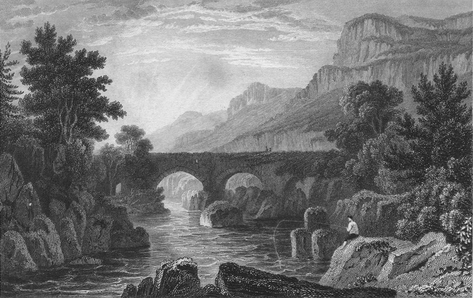 Associate Product WALES. Pont-y-Pair, Caernarfonshire. Gastineau 1831 old antique print picture