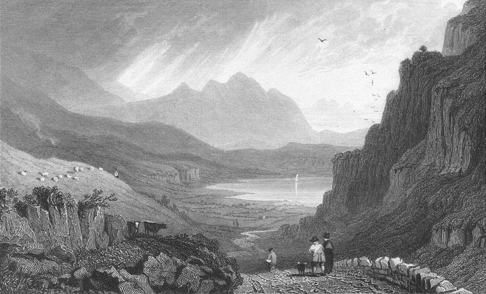 Associate Product CAERNARFONSHIRE. Llyn Gwynant. Gastineau Gwyant 1831 old antique print picture