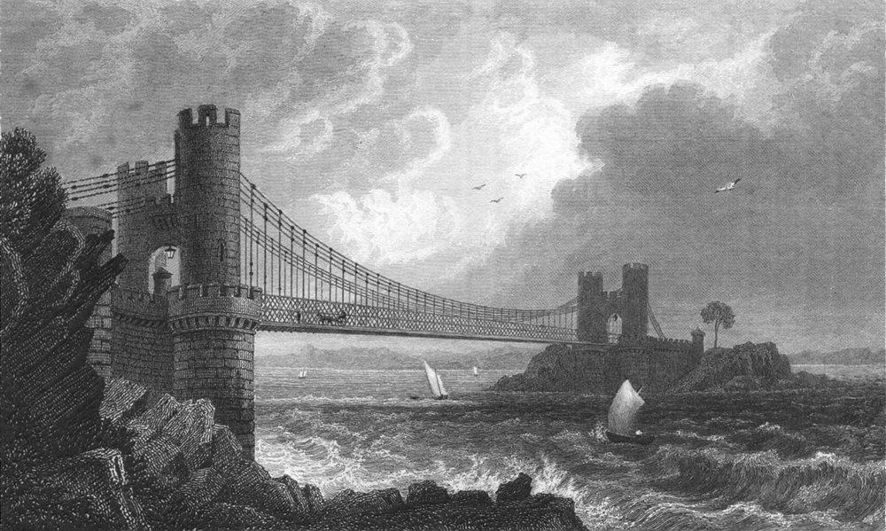Associate Product CAERNARFONSHIRE. Suspension bridge, Conway.  c1831 old antique print picture