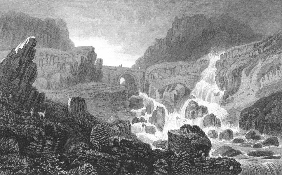 Associate Product CAERNARFONSHIRE. Fall of Ogwen, in Nant Ffrancon.  c1831 old antique print