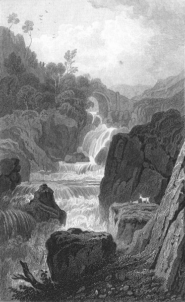 Associate Product CAERNARFONSHIRE. Pont Rhydlanfair, Capel Curig.  c1831 old antique print