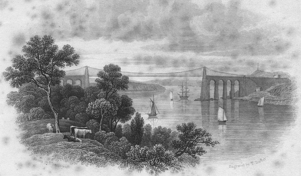 Associate Product WALES. Menai Straits. Anglesea. bridge Title frontis c1831 old antique print