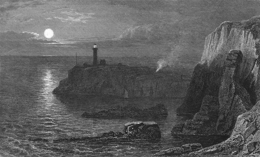 Associate Product HOLYHEAD. South stack Lighthouse. Anglesea.  c1831 old antique print picture