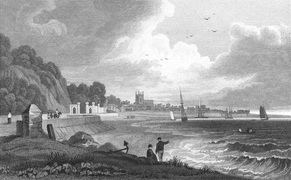 BEAUMARIS. Isle of Anglesea. Gastineau bay ships c1831 old antique print