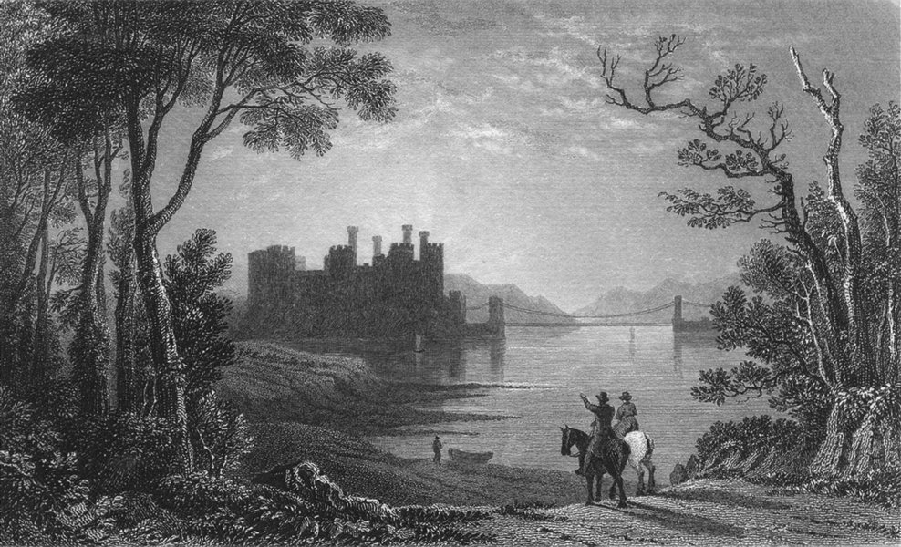 Associate Product WALES. Conwy Castle. Gastineau 1831 old antique vintage print picture
