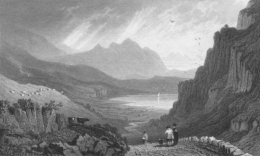 Associate Product WALES. Llyn Gwynant, Caernarfonshire. Gastineau 1831 old antique print picture