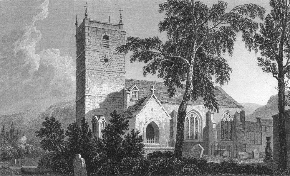 Associate Product DENBIGHSHIRE. Llangollen Church. Denbigh. Gastineau c1831 old antique print