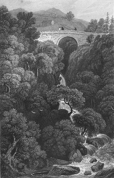 Associate Product DENBIGHSHIRE. Pont Glyn, Cerig Y Druidian. waterfall c1831 old antique print