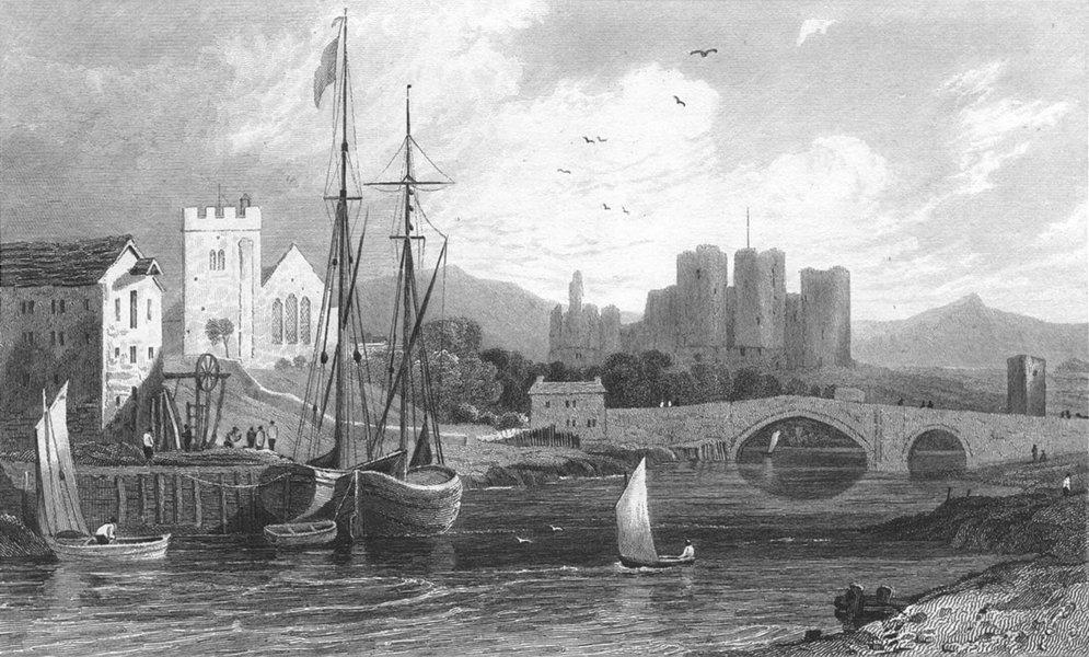 Associate Product RHUDDLAN. Castle, Flintshire. Flint. Boats & bridge 1831 old antique print