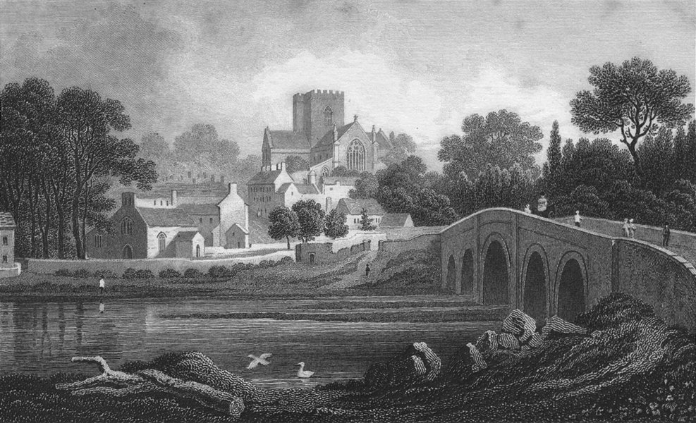 Associate Product WALES. St Asaph, Flintshire. Gastineau 1831 old antique vintage print picture