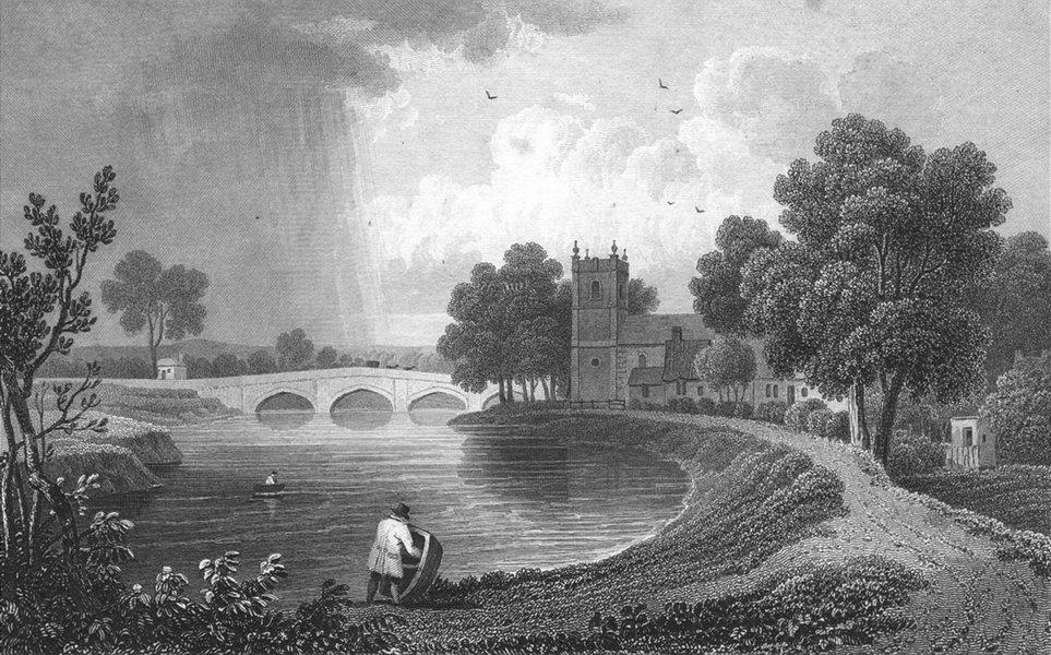 WALES. Bangor Iscoed, Flintshire. Gastineau 1831 old antique print picture
