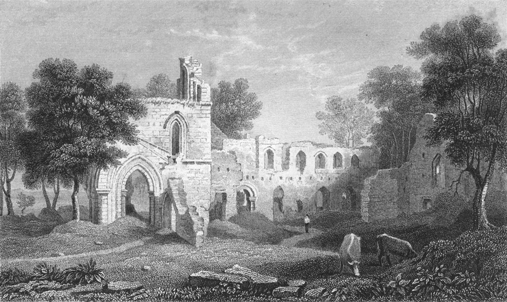 WALES. Basingwerk abbey, Flintshire. Gastineau 1850 old antique print picture