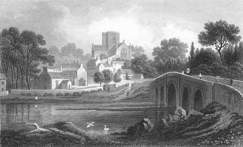 Associate Product WALES. St Asaph, Flintshire. Gastineau 1850 old antique vintage print picture