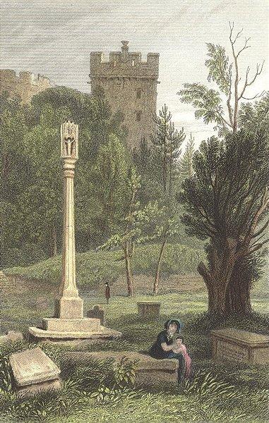 DONATS. Ancient cross, Donat's. Glamorganshire.  1831 old antique print