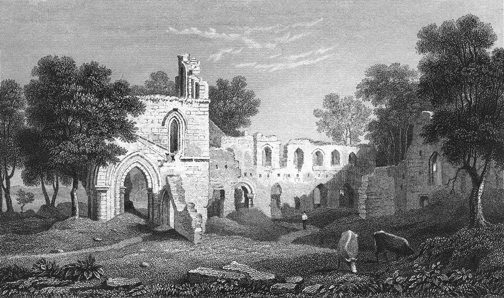 Associate Product FLINTSHIRE. Basingwerk abbey. Flint. remains c1831 old antique print picture