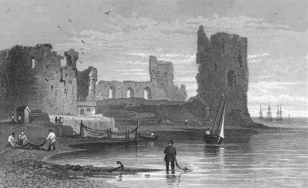 Associate Product WALES. Flint Castle. Gastineau Fisherman nets Boats c1831 old antique print