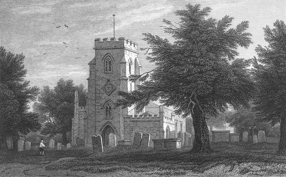 Associate Product WALES. Overton Church, Flintshire. Flint. Gastineau 1831 old antique print