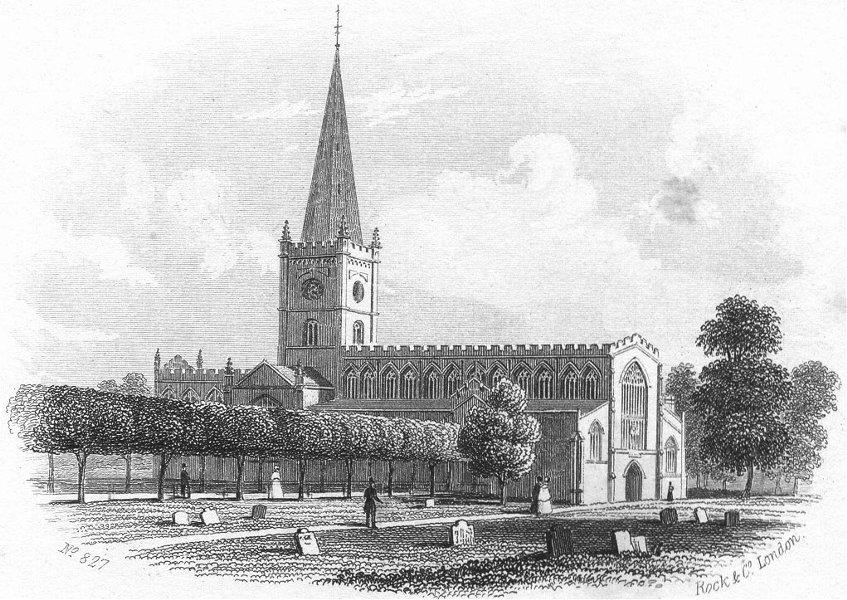 WARCS. Stratford on Avon Church. Stratford c1855 old antique print picture