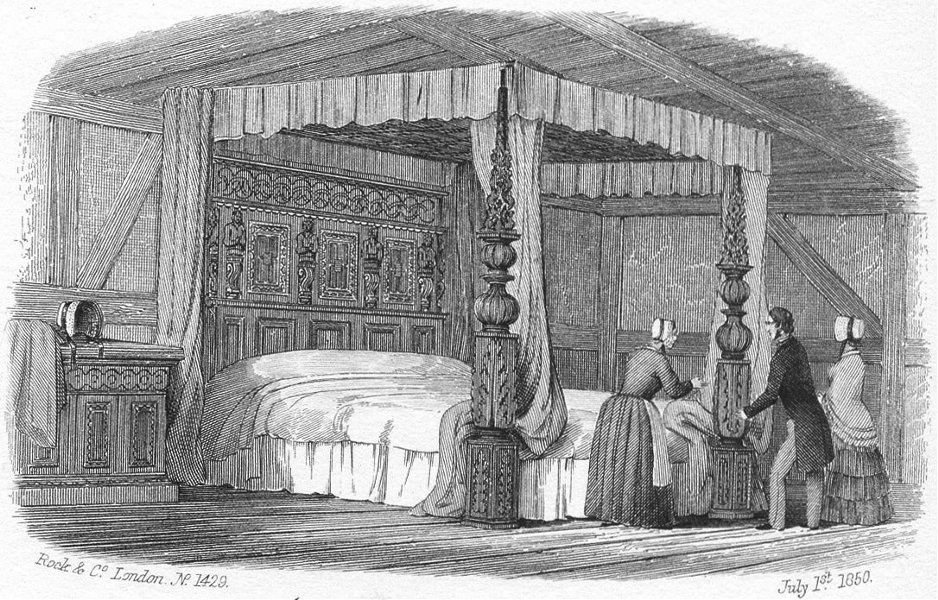 Associate Product STRATFORD ON AVON. Avon Hathaway's Bed, Shottery c1855 old antique print