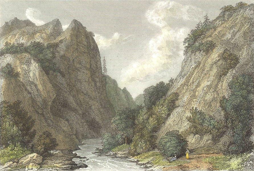 DERBYS. Dove Dale, Derbyshire. Westall-Finden 1830 old antique print picture