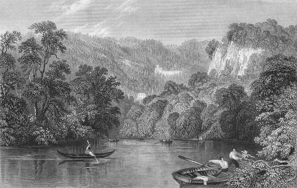 Associate Product DERBYS. Matlock, Derbyshire. Allom Rowing Boats 1836 old antique print picture