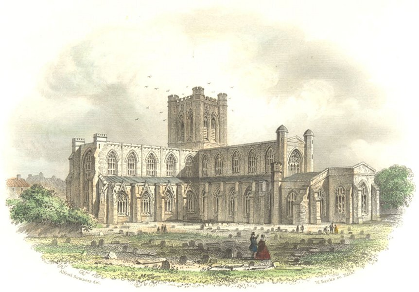 Associate Product CHESHIRE. Chester Cathedral. Hughes 1856 old antique vintage print picture